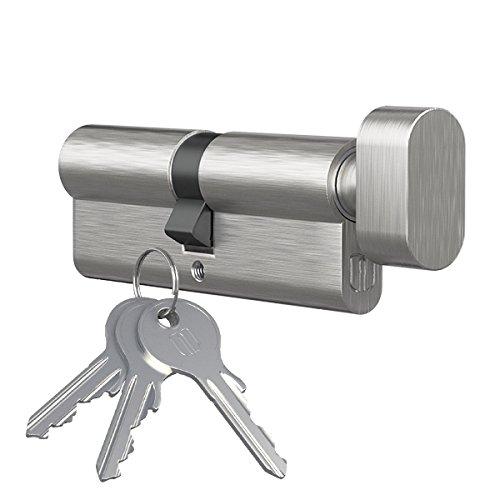 Knaufzylinder Türschloss Profilzylinder mit Knopf Knopfzylinder by MS Beschläge® (Vernickelt, 25x35mm)