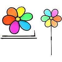 BrilliantDay - Lote de 3 molinillos de viento de arcoíris grandes, coloreados, para jardín, decoración al aire libre, 64 cm de diámetro