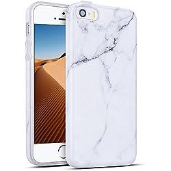 Mosoris Coque iPhone 5S, iPhone Se Silicone Csae Marbre Motif TPU Souple Housse Etui Ultra Mince pour iPhone 5 / 5S / Se de Protection Flexible Soft Cover Couverture Anti Choc, Blanc