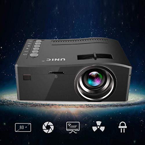 Juzie Mini proyector portátil Multimedia Full HD,  Soporte HDMI VGA USB AV SD Conectado con TV portátil para Movie Party,  Negro