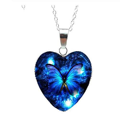 BULINGBL Necklace Halskette Schmetterlings-Glasherz-Schmuck-Halskette Schöne Und Mysteriöse Schmetterlings-Hängende Handgemachte Geschenke
