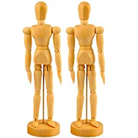 AmaMary Wooden Male Mannequin, 2 PCS Artists Wooden Male Manikin Doll Blockhead Jointed Mannequin 12 Inch