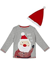 Bluezoo - Boys' Grey Santa Hat and T-Shirt . Size 18 - 24 months