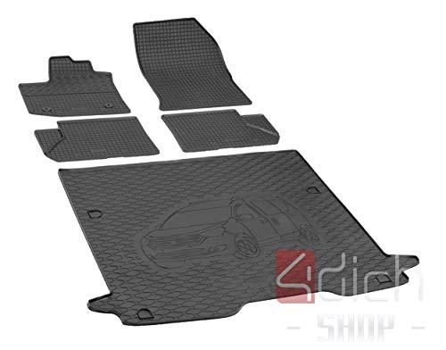 Passgenaue Kofferraumwanne und Gummifußmatten geeignet für Dacia Dokker ab 2012 - EIN Satz