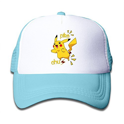 matthe-jvenes-nios-Girl-Boy-Kids-Rock-Estampado-Pikachu-Unisex-media-gorra-Gorra-de-bisbol-de-malla-ajustable-Skyblue