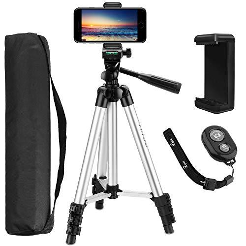PEMOTech Trípode Móvil 106cm (42'), [4 en 1] Trípode Cámara con Obturador Remoto Bluetooth, Soporte de móvil y Bolsa, Trípode para iPhone X /8 Plus /7/6 Plus, HUAWEI, Cámara DSLR Canon, Nikon, Sony