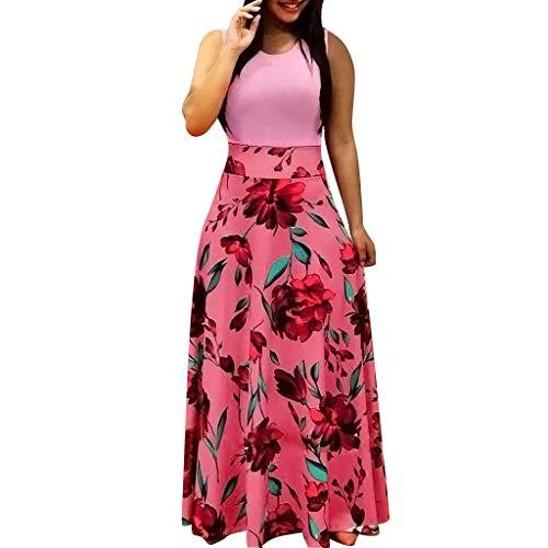 (Sommerkleid Damen,Elegante Ärmellos Swing-Kleid Lässiges Blumenmuster Maxikleid Mit bedrucktes Strand Partykleider (Rosa,L)