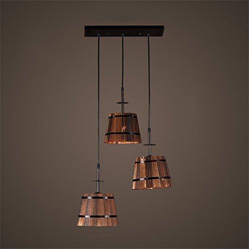 Lámparas de estilo rústico americano American Industrial Wind Three Head Lámparas de barril de madera y luz de arte creativa nórdica personalizada (tablero de luz rectangular) para comedor / sala de e
