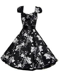 Pretty Kitty Fashion 50s Schwarz Weiß Blumen Cocktail Tee Kleid