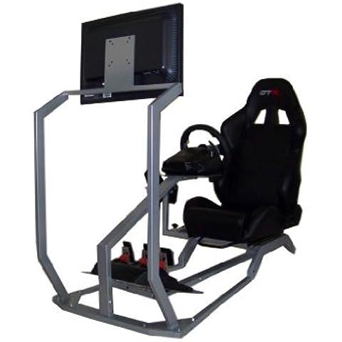 GTR Simulator GT - Cabina para simulador de conducción con asiento de carreras auténtico, soporte para palanca de cambios y pantalla simple