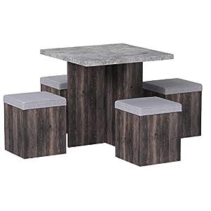 HOMCOM Essgruppe Esstisch Set mit 4 Hockern Sitzgruppe 5-TLG. Esszimmer Grau 78×78 cm