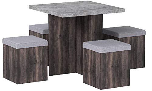Homcom Essgruppe Esstisch Set mit 4 Hockern Sitzgruppe 5-TLG. Esszimmer Grau 80x80cm