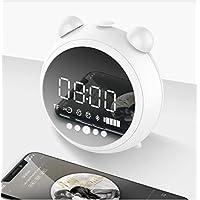 WDDqzf LED Reloj Despertador Digital HD Reloj Espejo con Luz Nocturna Radio FM Inalámbrico Bluetooth Altavoz