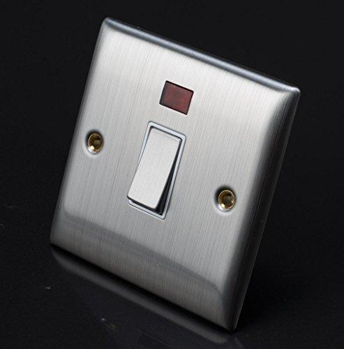 Single Light Switch Lyvia Venetian S/S 20A Dp 1G SW Wht Insert 1 Gang Metal
