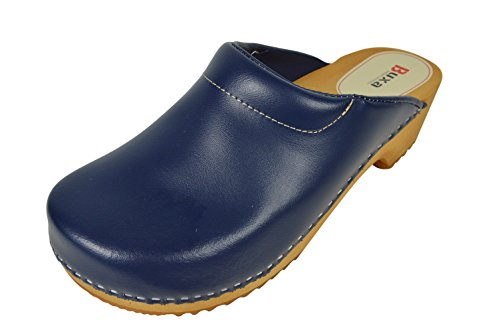Buxa Unisex Denim Blau Holz und Leder Clogs mit Polsterung, Größe 40 (Denim Clogs Leder)