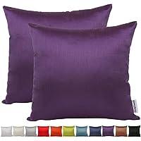 Funda para cojín Comoco®, 2 unidades, seda sintética, color liso, decorativa, para sofá, disponible en 12colores y 7tamaños, Morado, 45 x 45cm