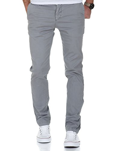 Amaci&Sons Herren Vintage Slim Fit Stretch Chino Hose Jeans 7011 Grau Vintage W36/L32 Vintage Chino