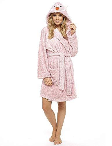CityComfort Damen Morgenmantel Pinguin Eule Luxus Damen Kleider Plüsch Robe Neuheit Tier Kapuze Super Soft Touch Fleece Mit Kapuze Bademäntel für Sie! (M, ()