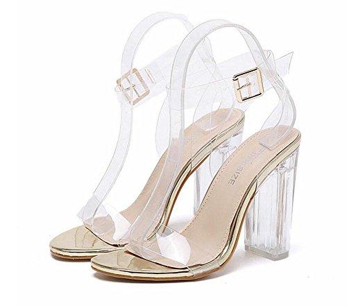 GLTER Femmes Chaussures à talons hauts Talons à Talons Ouverts Chaussures Cristal Transparent Gris Chaussures Sandales Outdoor Gold