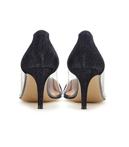 EDEFS Chaussure Femme Transparent Talon Aiguille Stiletto Sandales Soirée À Enfiler Escarpins Taille Denim