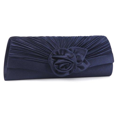 Damara Damen Blume Falten Clutch Hochzeit Handtasche,Marine Blau (Marine-blau-handtasche)