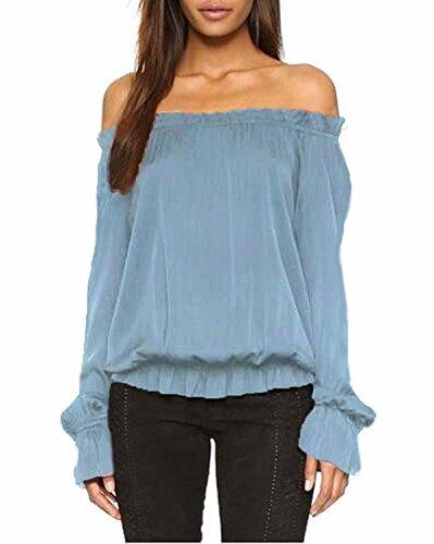 ZANZEA Damen Schulterfrei Flounce Langarm Lang Shirt Bluse Tunika Top Hemd Oberteil Hellblau