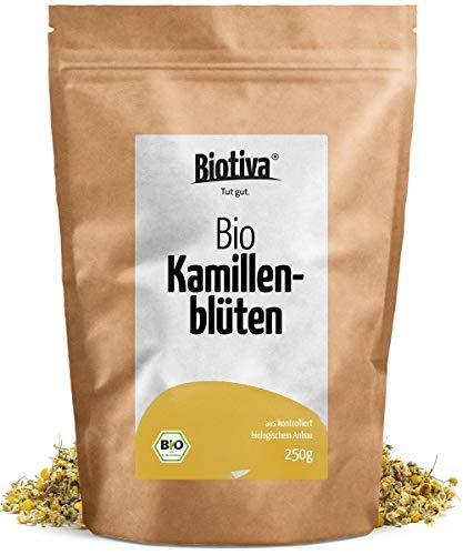 Kamillen-Blüten Tee (Bio, 250g) - Hochwertigste ganze Bio-Kamillenblüten - Bio-Kamillen-Tee - Abgefüllt und kontrolliert in Deutschland (DE-ÖKO-005) - GP: € 3,96/100g