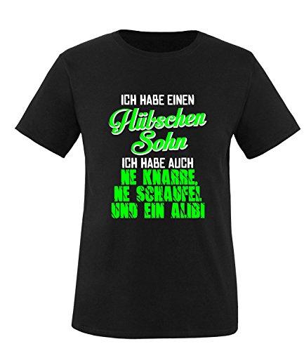 Luckja Ich habe einen hübschen Sohn Herren Rundhals T-Shirt Schwarz/Weiss/Neongruen