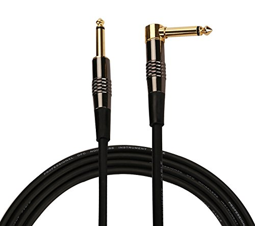 Rayzm Cable de la Guitarra - 5m Silencioso Guitarra / Bajo Plomo, 1/4 ' (6.35mm) Straight to Right Angle Hombre Mono TS Instrumento Cable - Cobre Tapones con Oro Jacks.
