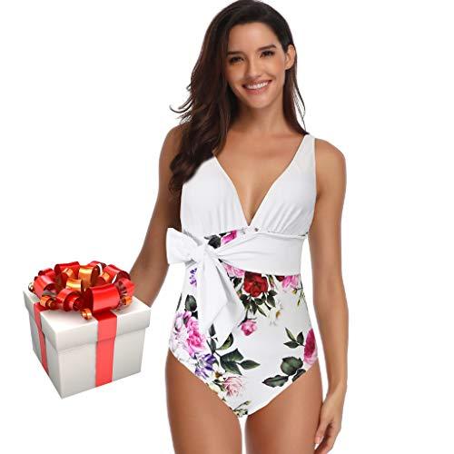 QingJiu Damen Print Einteiliger Badeanzug Mit Badeanzug Komfortabler Sommerstrand (Weiß, Large)