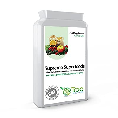 Troo-Vit Supreme Superfoods 100 Capsules 420mg - Powerful Organic Food Form Multi-Vitamin, Mineral, Amino Acids & Trace Elements Supplement by Troo Health Care