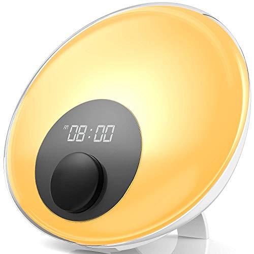 Gadgy ® Wake up Light l sveglia luce lampade da comodino l 16 milioni di colori, radio fm, 10 suoni natura, pulsante touche et un altoparlante di alta qualità