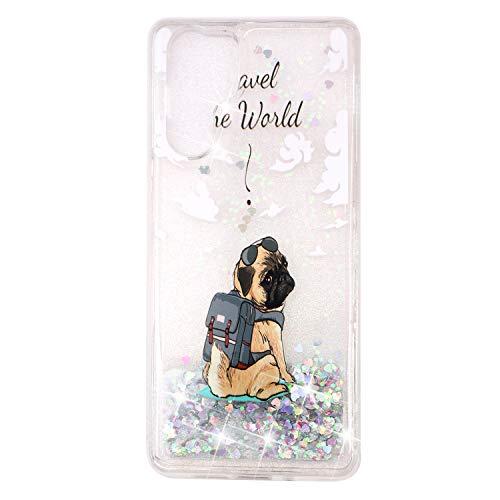 Miagon Flüssig Hülle für Huawei P30 Pro,Glitzer Weich Treibsand Handyhülle Glitter Quicksand Silikon TPU Bumper Schutzhülle Case Cover-Hund