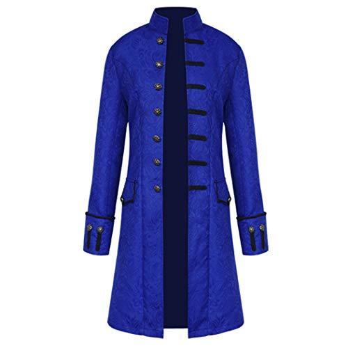 Anywow Herren Steampunk viktorianischen Mantel mittelalterlichen Jacke Viking Renaissance formalen Frack Gothic Tuxedo Stehkragen Mantel Halloween Kostüm (XXL, Blau # - Tuxedo Für Erwachsene Kostüm