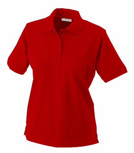 James & Nicholson Damen Ladies' Polo Poloshirt, rot), Medium - Rot Baumwolle Polo-shirt