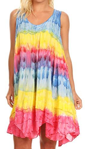 Sakkas 191476 - Artemi Women Casual Short Tie-Dye ärmelloses, Loses Trägerkleid überziehen - TurqYellow - OSP - Womens Tie Dye