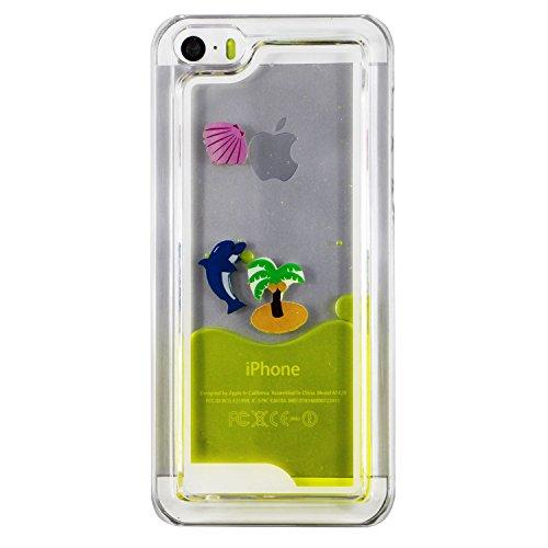 EMAXELERS Schutzhülle iPhone 5C Hülle Transparent Hardcase,iPhone 5C Hülle,iPhone 5C Case Cove,3D Kreativ Muster Transparent Hard Case Cover Hülle Etui für iPhone 5C,Rosa Herz Serie Bling Luxus Glitte Dolphin 7