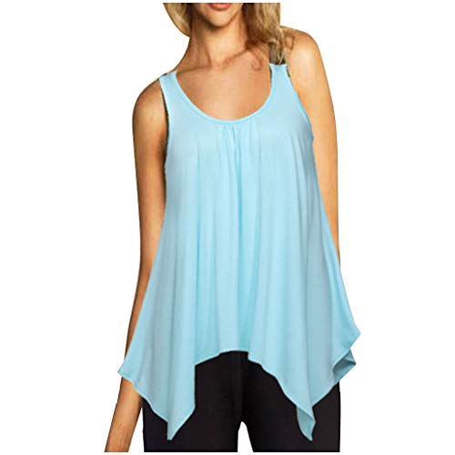 Muyise Damen Tops Weste Plus Size ärmellos U-Ausschnitt lässig lose einfarbig unregelmäßiger Saum Leibchen Vest Unterhemd Bluse Oberteile(Mintgrün,XL) (Minimal 2019 Halloween)