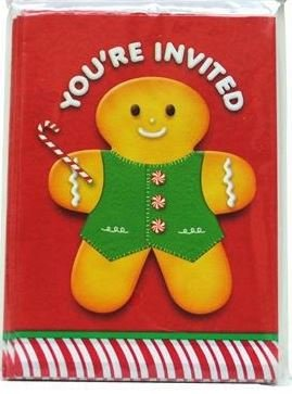 8 Cute Ginger Bread Man Christmas / Eve Invitation Cards With Envelopes RSVP Party Celebration Dinner Kid Child Family