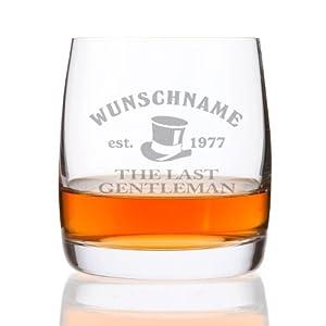 Privatglas Whiskeyglas (Bohemia) - Motiv: Geniesser - mit kostenloser Gravur des Vor & Nachnamens + Geburtsjahr