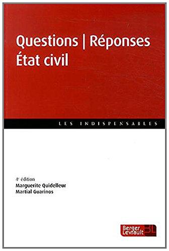 Questions Réponses Etat civil par Marguerite Quidelleur, Martial Guarinos