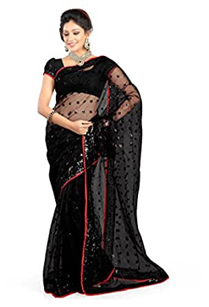 Jhalak Fashion Net Saree (Js1175_Black)
