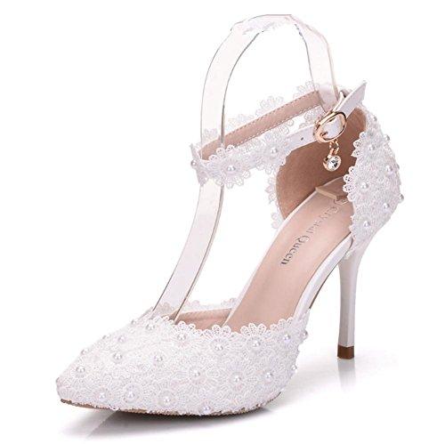 Damen Hochzeit Braut Schuhe Sandalen Pumps Spitze Knöchel Frau Weiß Hoch Hacke Perle Kleid Abend Größe 35-41, White, EUR 36/ UK 3.5-4 Braut Kleid