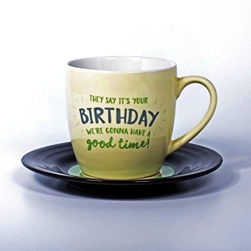 Lyrical Mug - Ensemble-Cadeau de Tasse et Soucoupe Céramique avec Paroles de Chanson Anniversaire - John Lennon & Paul McCartney - Autorisé par Sony/ATV - Thumbs up! - 1001702