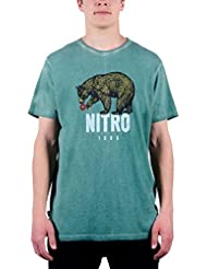 Nitro Snowboards Bear Camiseta, Hombre, Verde, S