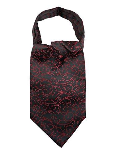 WANYING Herren Krawattenschal Ascotkrawatte Schal Cravat Ties Einfach Schick für Gentleman - Geblümt Schwarz Rot