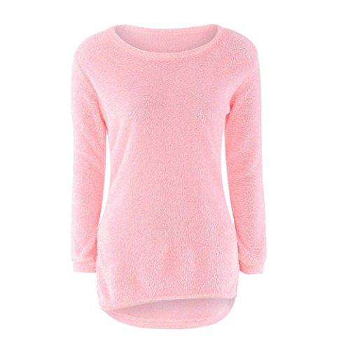 Pullover,WINWINTOM Womens beiläufige feste lange Hülsen-Pullover-Blusen-Bluse (XL, Rosa) (Kleid Regal Büste)