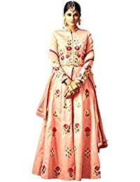 Kyara Women's Georgette Semi-Stitch Embroidered Dress Material (K05_Pink _Free Size)