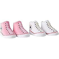 Converse 2 Pack Booties, Chaussettes Bébé Fille, Rose (Chuck Pink), FR (Taille Fabricant: 0-6 Mois)