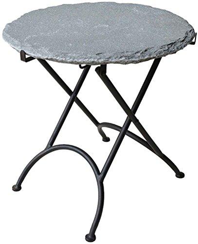 Exklusiver Beistelltisch mit schwerer Natur-Steinplatte D 40 cm Schiefer Metall